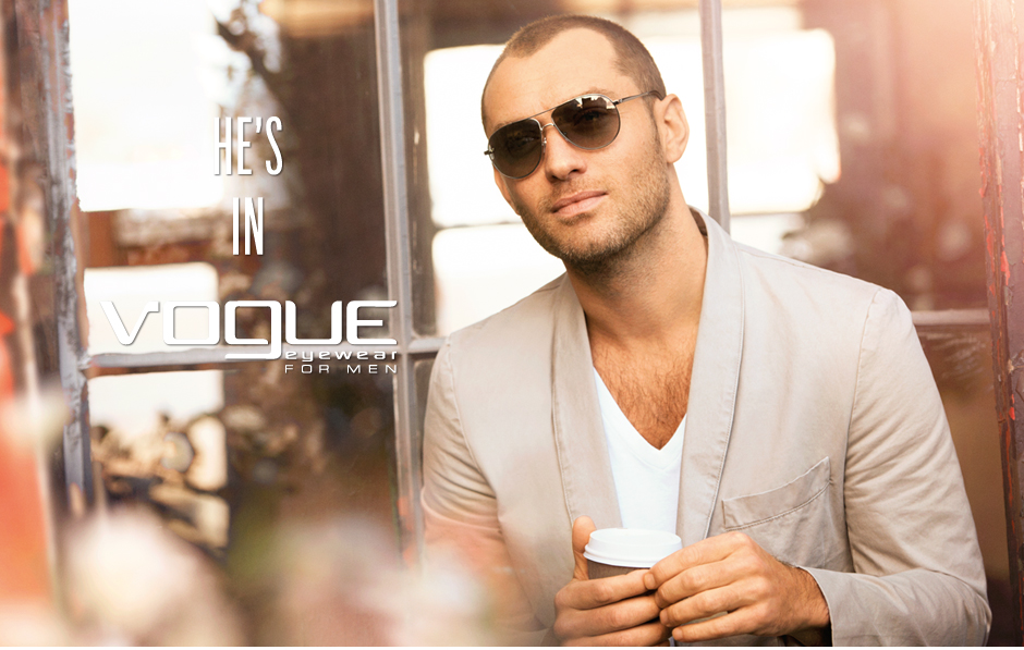 publicité vogue eyewear for men Jude Law
