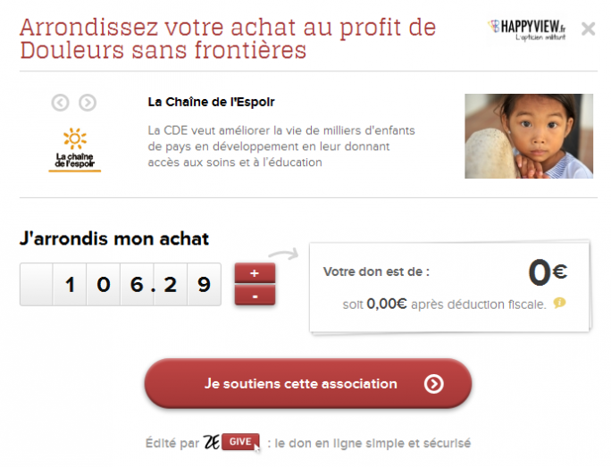 le bouton ZeGive sur Happyview.fr